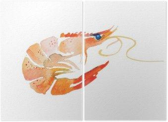 Diptyque Crevettes d'aquarelle.
