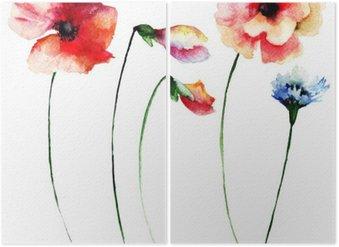 Diptyque Ensemble de fleurs à l'aquarelle d'été
