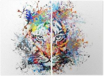 Diptyque Fond clair avec le tigre