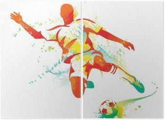 Diptyque Football joueur botte le ballon. Vector illustration.
