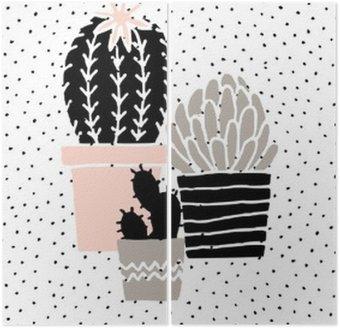 Diptyque Hand Drawn Cactus Affiche