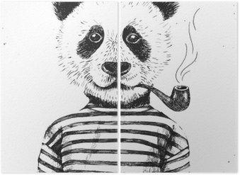 Diptyque Illustration tirée par la main de hippie panda
