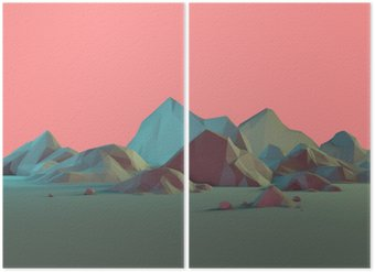Diptyque Low-Poly Montagne 3D Paysage avec Pastels