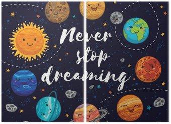 Diptyque N'arrêtez jamais de rêver. Motivation illustration vectorielle