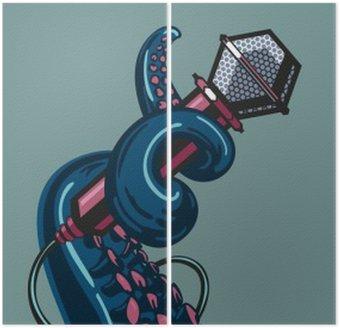 Diptyque Octopus tentacule tient un microphone. Le modèle de musique posters