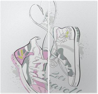Diptyque Paire de baskets à lacets en forme de coeur. Hand drawn illustration vectorielle.