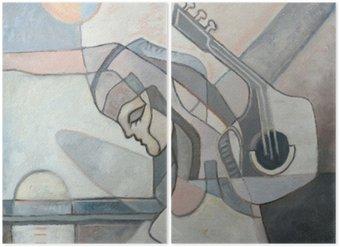 Diptyque Peinture abstraite Avec Femme et guitare