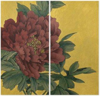 Diptyque Pivoine fleur sur un fond d'or