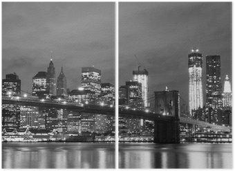 Diptyque Pont de Brooklyn et Manhattan Skyline At Night, New York City
