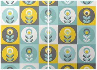 Diptyque Rétro motif floral, fleurs sans soudure géométriques