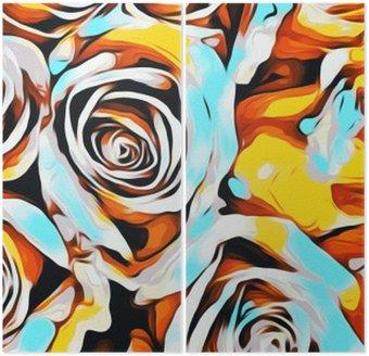 Diptyque Roses blanches et jaunes oranges bleues texture fond abstrait