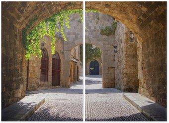 Diptyque Rue médiévale voûtée dans la vieille ville de Rhodes, Grèce