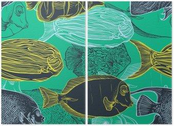 Diptyque Seamless avec collection de tropical ensemble de la main illustration tirée de fauna.Vector marine en ligne art style.Design pour la plage d'été, des décorations fish.Vintage.