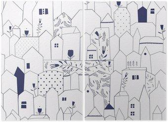 Diptyque Seamless pattern. Figure villes de style vintage.