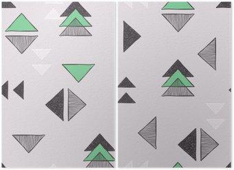 Diptyque Seamless triangles dessinés à la main.