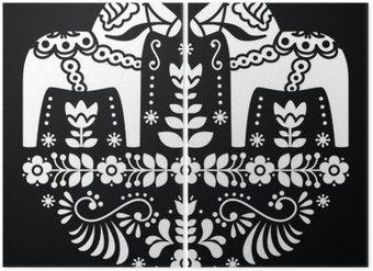 Diptyque Swedish Dala ou un motif folklorique Daleclarian cheval floral sur le noir