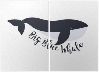 Diptyque Vector illustration de baleine. Symbole de conception