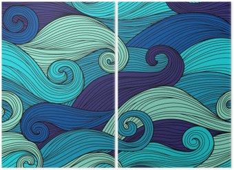 Diptyque Vector seamless pattern avec des vagues abstraites