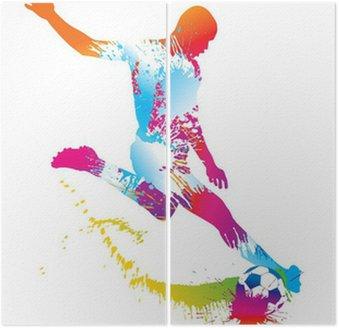 Dittico Calcio giocatore calcia il pallone. Illustrazione vettoriale.