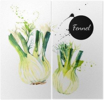 Dittico Cucina erbe e spezie banner. Illustrazione vettoriale. Acquerello