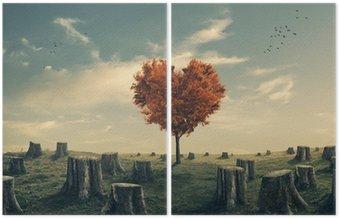 Dittico Cuore a forma di albero nella foresta eliminato