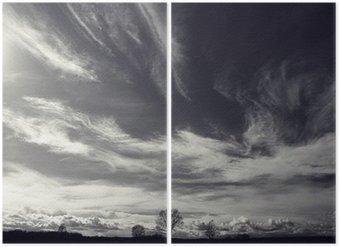 Dittico In bianco e nero fotografia di paesaggio autunnale