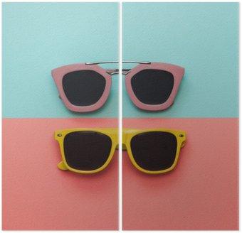 Dittico Piatto set di moda laici: due occhiali da sole su sfondi pastello. Vista dall'alto.