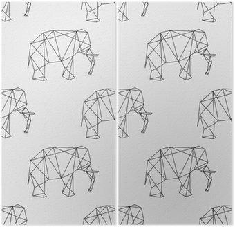 Dittico Senza soluzione di continuità elefante disegno geometrico