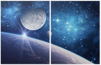 Dittico Sfondo con un pianeta, Luna e Stella