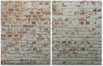 Dittico Sfondo di un vecchio muro di mattoni annata sporco con intonaco peeling
