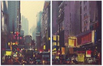 Dittico Traffico cittadino e la luce colorata a Hong Kong, illustrazione pittura