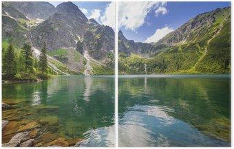 Dittico Uno splendido scenario delle montagne di Tatra e il lago in Polonia