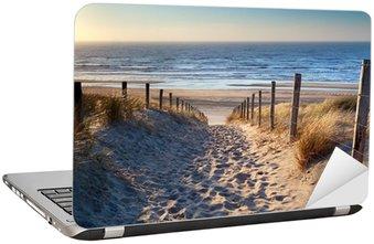 Dizüstü Bilgisayar Çıkartması Altın güneş Kuzey deniz plaj yolu