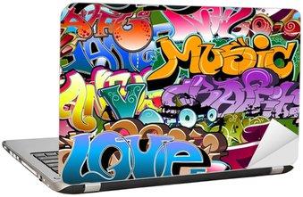Dizüstü Bilgisayar Çıkartması Graffiti seamless background. Hip-hop, sanat