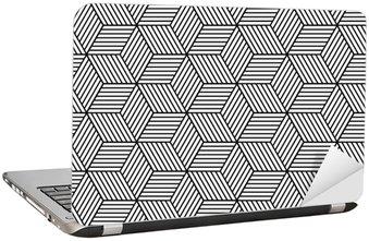 Dizüstü Bilgisayar Çıkartması Küp ile sorunsuz geometrik desen.