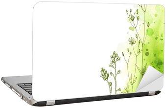 Dizüstü Bilgisayar Çıkartması Otlar ve çiçekler renk çizgi boyalı. Metin için boşluk. Vektör çizim. Soyut suluboya