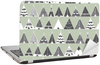 Dizüstü Bilgisayar Çıkartması Teepee Kızılderili yaz çadır illüstrasyon.