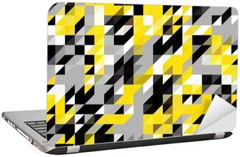 Dizüstü Bilgisayar Çıkartması Üçgen geometrik şekiller desen. siyah ve sarı