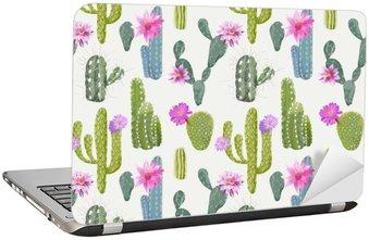 Dizüstü Bilgisayar Çıkartması Vektör Cactus Arkaplan. Dikişsiz Desen. Egzotik bitki. dönence