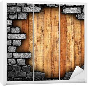 Dolap Çıkartması Ahşap arka plan ile kırık duvar