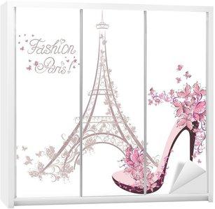 Dolap Çıkartması Eyfel Kulesi'nin arka plan üzerinde yüksek topuklu ayakkabılar. Paris Moda