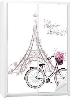 Dolap Çıkartması Eyfel Kulesi ve bisiklet ile Bonjour Paris metin