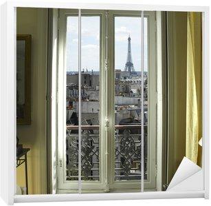 Dolap Çıkartması Fransa - Paris - Eyfel Kulesi ve çatılar manzaralı pencere