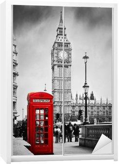 Dolap Çıkartması Kırmızı telefon kulübesi ve Londra, İngiltere, İngiltere'de Big Ben.