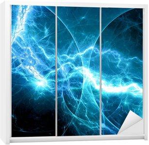 Dolap Çıkartması Mavi fantezi fraktal yıldırım