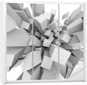 Dolap Çıkartması Özet 3D küpler arka plan patlayabilir.