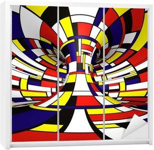 Dolap Çıkartması Özet 3D Mondrian tarzı