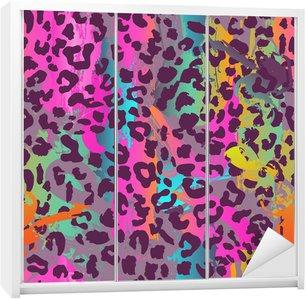 Dolap Çıkartması Renkli hayvan seamless background
