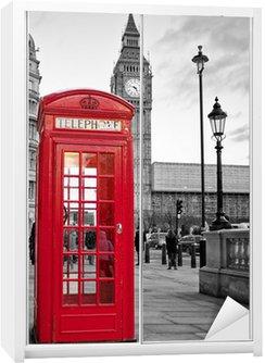 Dolap Çıkartması Siyah ve beyaz Big Ben ile Londra'da kırmızı telefon kulübesi