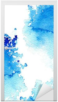 Abstract dark blue watery frame.Aquatic backdrop.Ink drawing.Watercolor hand drawn image.Wet splash.White background. Door Sticker